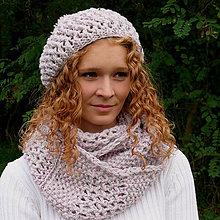 Čiapky - Šedo-růžová pletená souprava - 7248311_