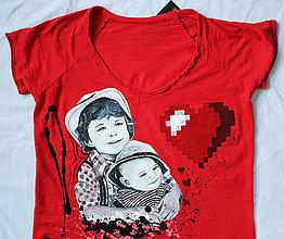 Tričká - Maľované tričko heart - 7246809_
