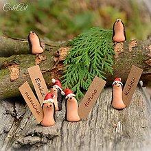 Papiernictvo - Vianoční ježkovia - menovky pre vašich hostí - 7249015_