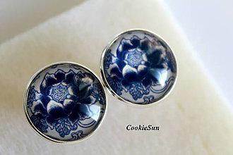 Šperky - Manžetové gombíky Modrotlač 20mm - 7250331_