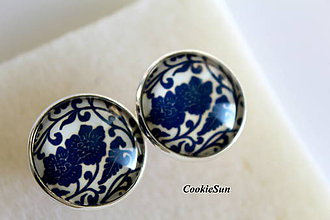 Šperky - Manžetové gombíky Modrotlač 20mm - 7250333_