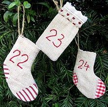 Dekorácie - Konopný adventný kalendár - čižmičky - 7248479_
