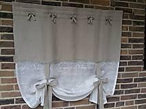 Úžitkový textil - Ľanová záclonka Simply Nature s mašličkami - 7248965_