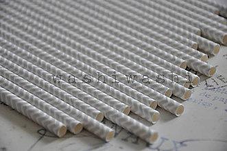 Papier - papierova slamka strieborno biely cik cak - 7250695_