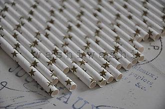 Papier - papierova slamka zlata hviezda na bielej - 7250707_