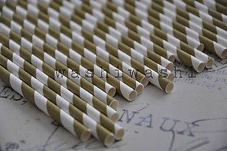 Papier - papierova slamka zlato biely pruh - 7250709_