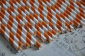 Papier - papierova slamka oranzovo biely pruh - 7250713_