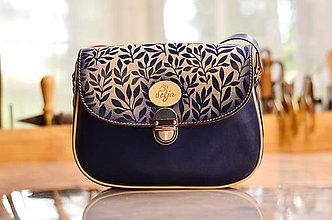 Kabelky - modrá kožená kabelka  PASPULA , vzorovaná - 7251726_