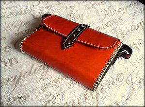 Kabelky - Ručne šitá kožená kabelka ,, Shinny orange\