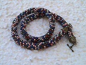 Náhrdelníky - farebnicový modro-hnedý - 7250976_