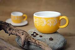 Nádoby - Šálek na cappuccino kopretiny žlutý - 7253440_