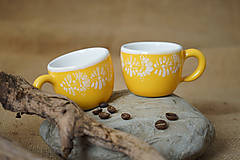 Nádoby - Šálek espresso kopretiny žlutý - 7253599_