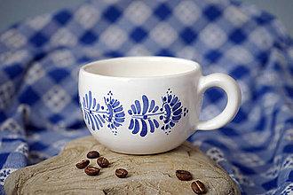 Nádoby - Šálek na cappuccino kopretiny bílý - 7253423_