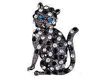 - Štrasová brošnička mačička - 7252857_