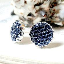 Náušnice - Sparkling Crystals - Cobalt Blue Stud Earrings / Trblietavé napichovacie náušnice - 7255509_