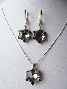 Sady šperkov - Set s kryštálmi Swarovski edelweiss 18mm, Ag 925 (silver night) - 7255361_