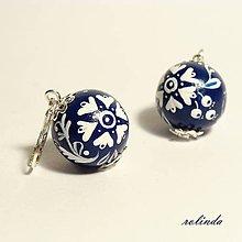 Náušnice - Folklórní náušnice - modrotisk 6 - 7256089_