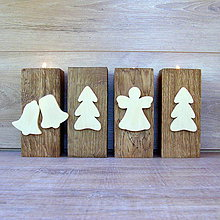 Svietidlá a sviečky - Vianočný svietnik  zvončeky, stromček, anjel - 7256060_