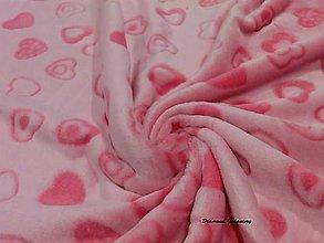 Textil - Flis - srdiečka - cena za 10 cm - 7257668_