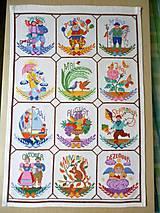 Obrázky - Dekorácie - Vyšívaná tapisérie - celoroční kalendár - 7256653_