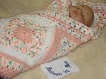 Úžitkový textil - Háčkovaná detská deka marhuľovobiela - 7254899_