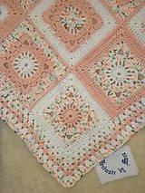 Úžitkový textil - Háčkovaná detská deka marhuľovobiela - 7254900_