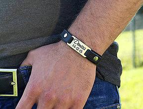 Šperky - Kožený náramok s textom na želanie NORO GOLD - 7256035_