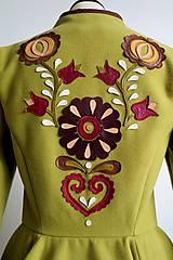 Kabáty - folk kabátik s ornamentami - zelený - 7257441_
