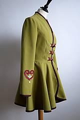 Kabáty - folk kabátik s ornamentami - zelený - 7257459_