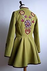 Kabáty - folk kabátik s ornamentami - zelený - 7257464_