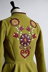 Kabáty - folk kabátik s ornamentami - zelený - 7257465_