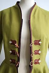 Kabáty - folk kabátik s ornamentami - zelený - 7257466_