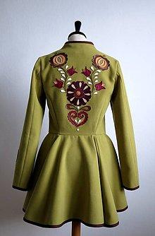 Kabáty - folk kabátik s ornamentami - zelený - 7257461_