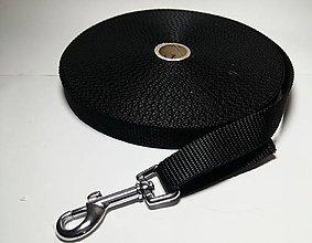 Pre zvieratká - Vodítko stopovacie čierne (2 cm) - 7255525_