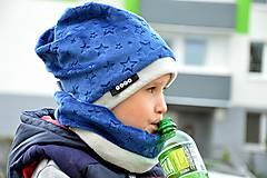 Detské súpravy - Zimná súprava -obojstranná Minky stars Navy - 7258185_