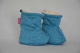 Topánočky - Softshellové termo čižmičky - melir.modrá - 7257369_
