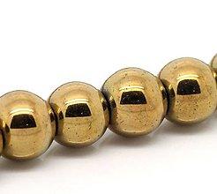Korálky - Hematitové korálky zlaté 8mm - 7255412_