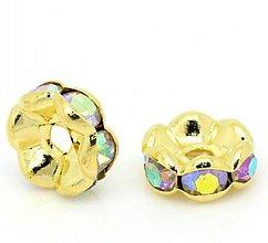 Korálky - Zlaté rondelky 8mm s dúhovými štrasovými očkami - 7255414_