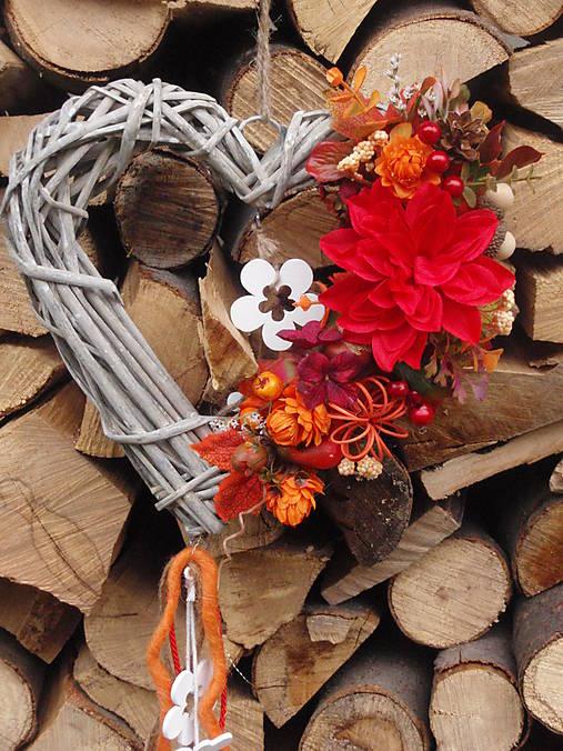 Jesenné srdce s červeným kvetom   erikak - SAShE.sk - Handmade Dekorácie 93e674c6439