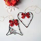 Dekorácie - sada srdiečko a zvonček na Vianoce - 7260330_