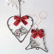 Dekorácie - srdiečko väčšie so zvončekmi -vianoce - 7260654_
