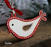 Dekorácie - Vianočná ozdoba vtáčik folk - 7261010_