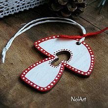 Dekorácie - Vianočná ozdoba hríbik folk - 7261163_