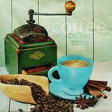 Papier - S806 - Servítky - káva, mlynček, škorica, badyán, vintage - 7262095_