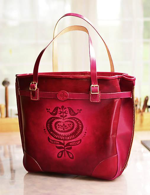 Veľké tašky - Veľká kožená taška Surmena bordó - 7258316_