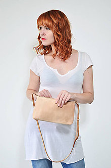 Kabelky - kožená kabelka LAURA na zips - 7258290_