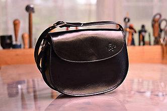 Kabelky - kabelka kožená PANACEA BASIC čierna, lesk, veľkosť S - 7262257_