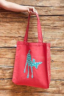Nákupné tašky - Srnka na červenej taške. - 7259454_