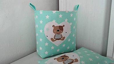 Košíky - textilní košík medvídkový - 7259268_