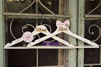 Nábytok - Svadobné vintage vešiačiky vtáčikové - ružové - 7260044_